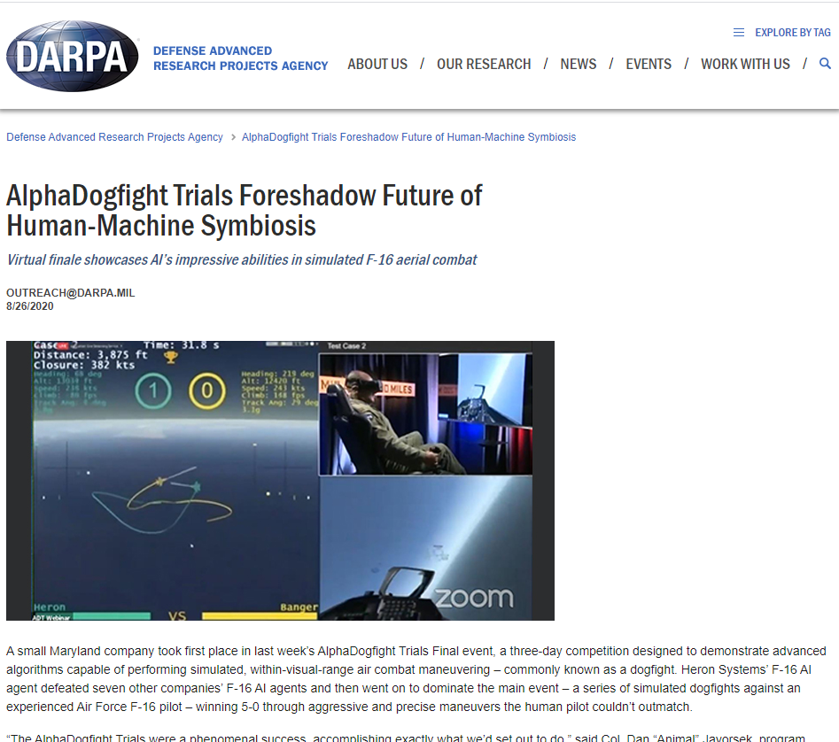 AlphaDogfight Trials Foreshadow Future of Human-Machine Symbiosis