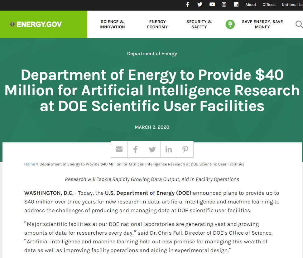 Artificial Intelligence Research at DOE Scientific User Facilities