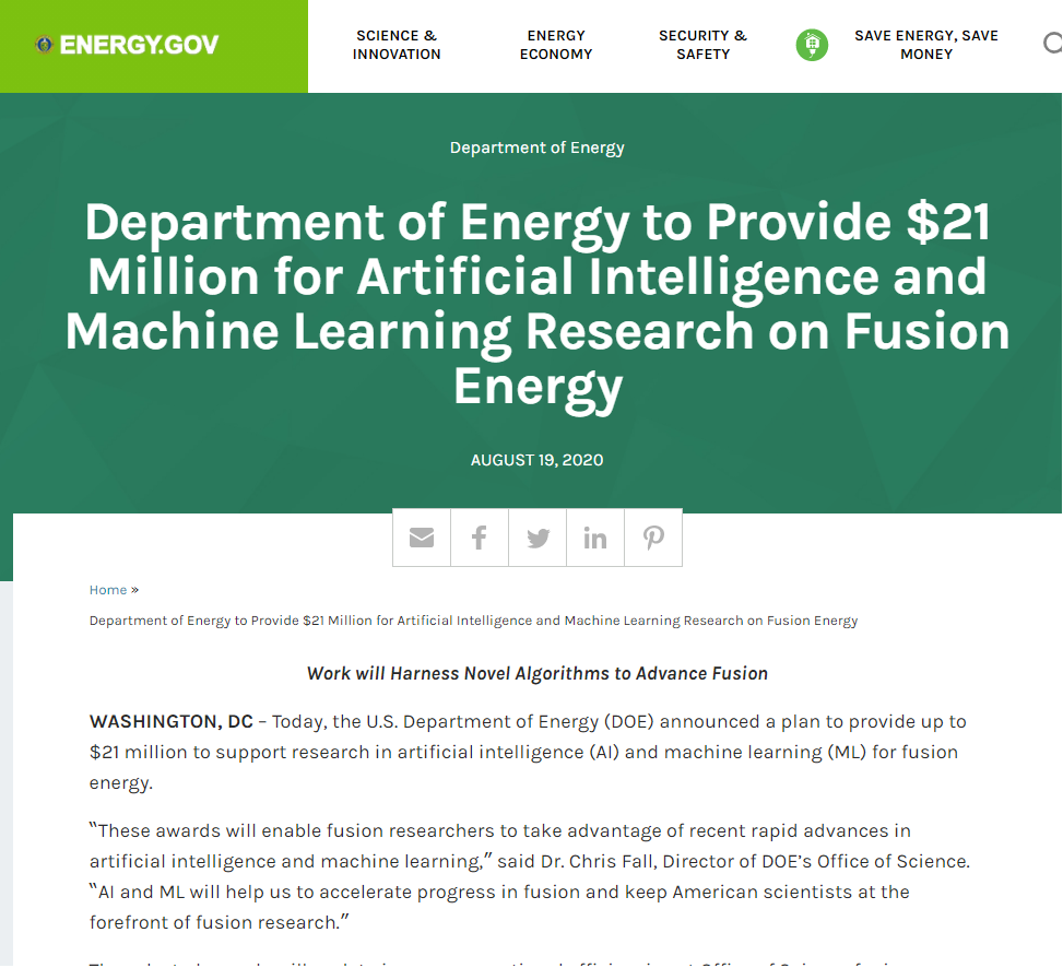 Artificial Intelligence and Machine Learning Research on Fusion Energy