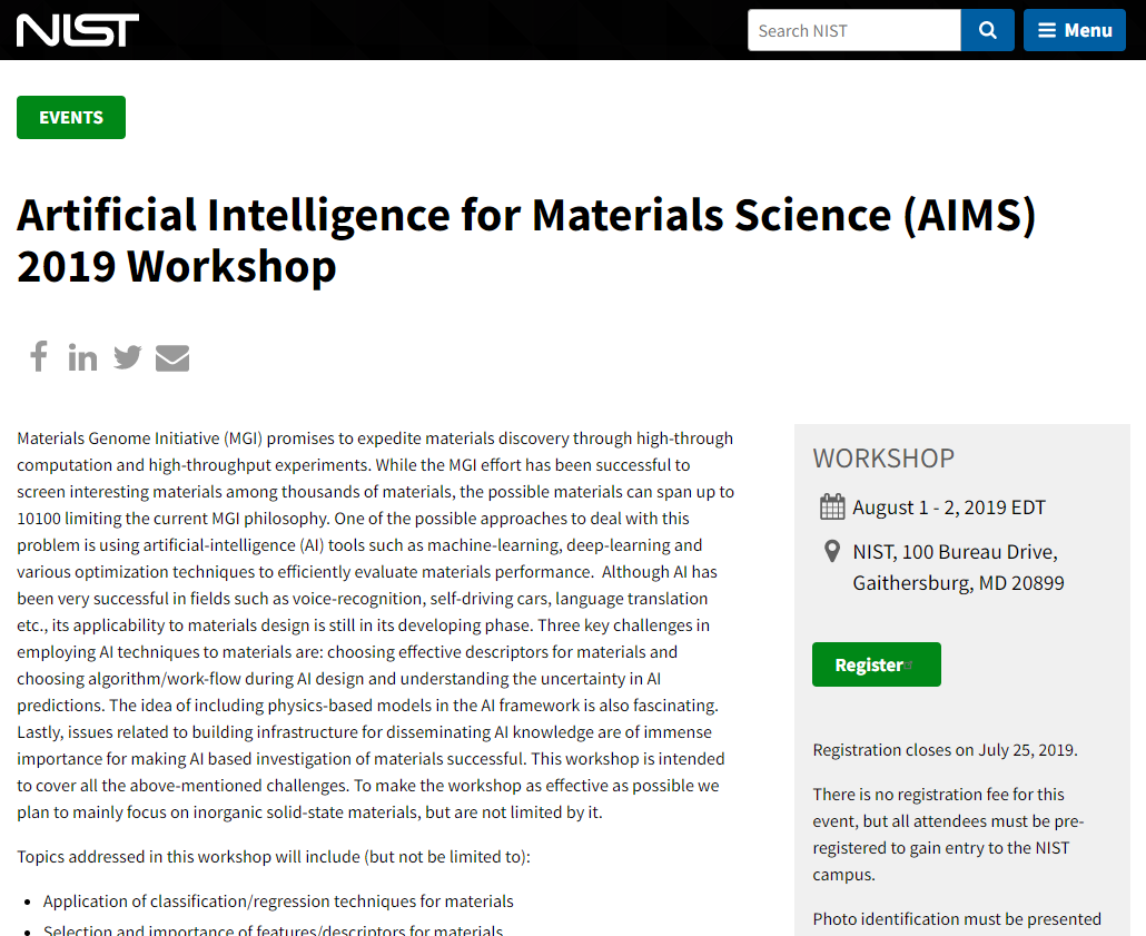 Artificial Intelligence for Materials Science (AIMS) 2019 Workshop