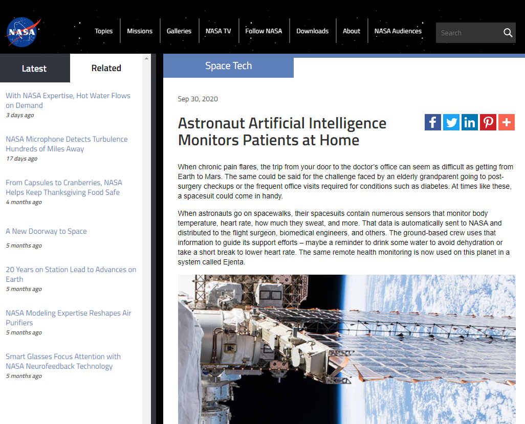 Astronaut Artificial Intelligence Monitors Patients at Home