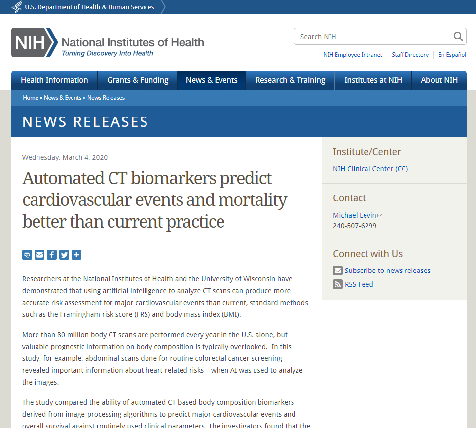 Automated CT biomarkers predict cardiovascular events and mortality better than current practice