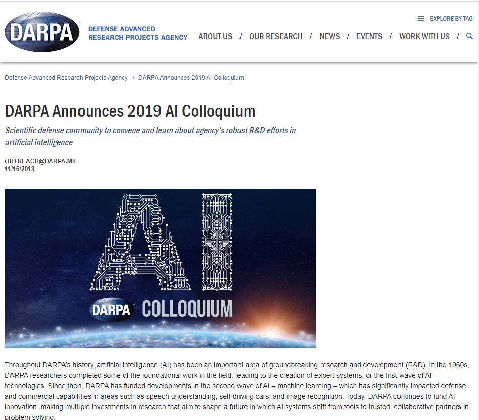 DARPA Announces 2019 AI Colloquium