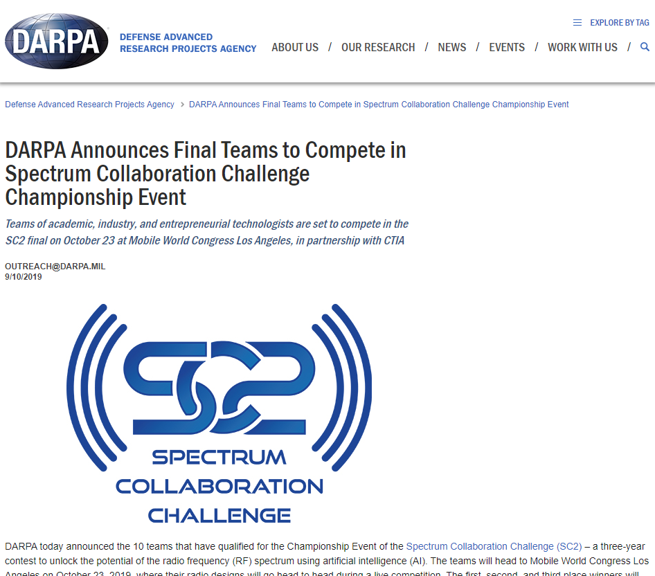 DARPA Announces Final Teams to Compete in Spectrum Collaboration Challenge Championship Event