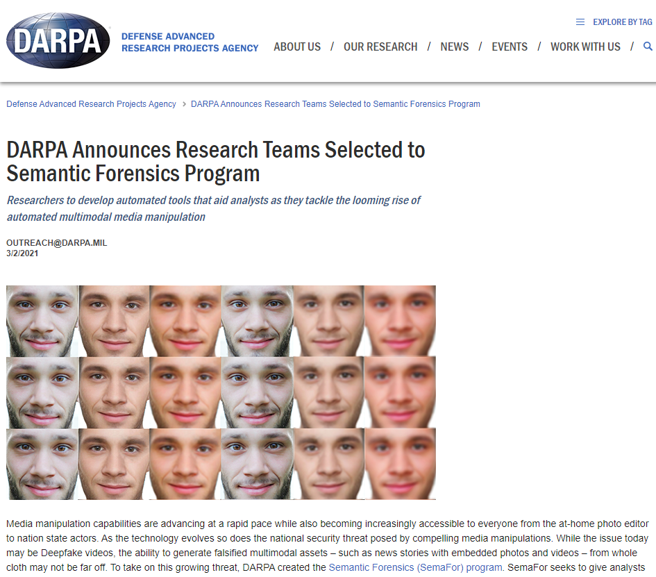 DARPA Announces Research Teams Selected to Semantic Forensics Program