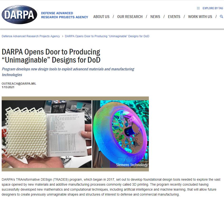 """DARPA Opens Door to Producing """"Unimaginable"""" Designs for DoD"""