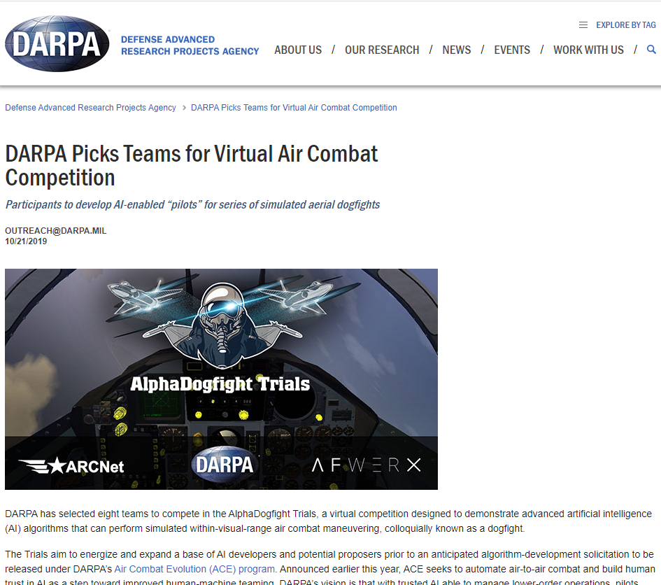 DARPA Picks Teams for Virtual Air Combat Competition