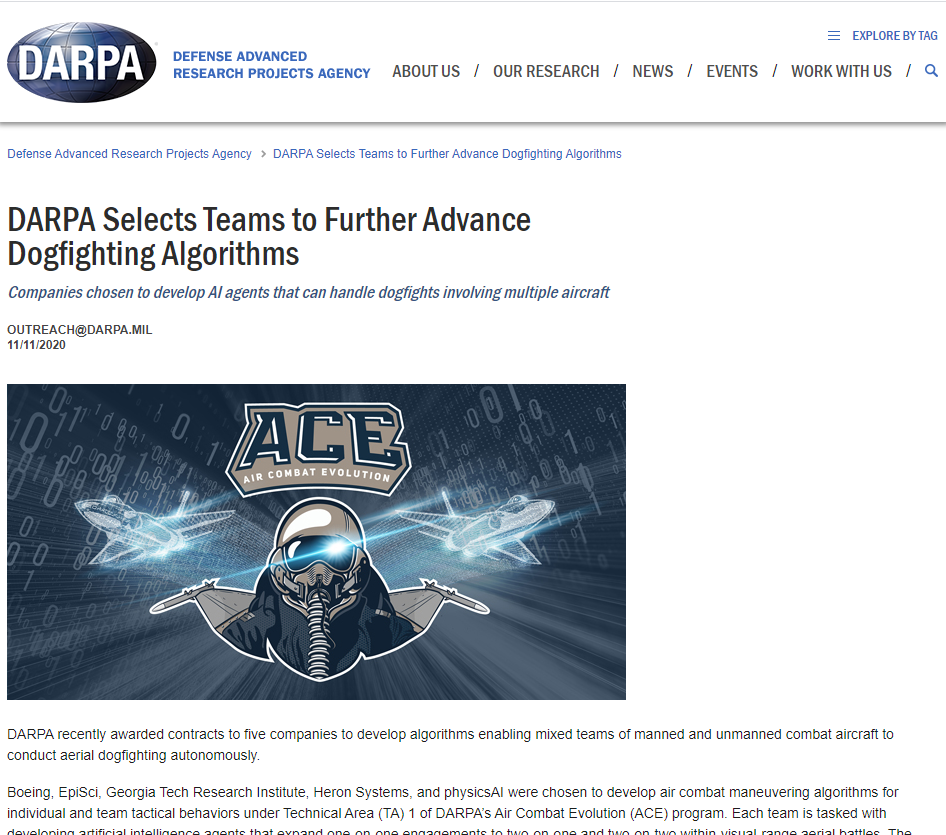 DARPA Selects Teams to Further Advance Dogfighting Algorithms