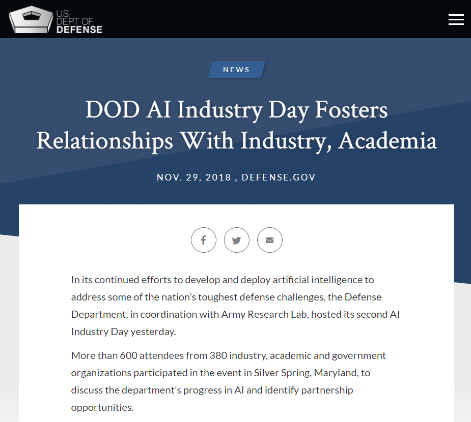 DOD AI Industry Day Fosters Relationships With Industry, Academia