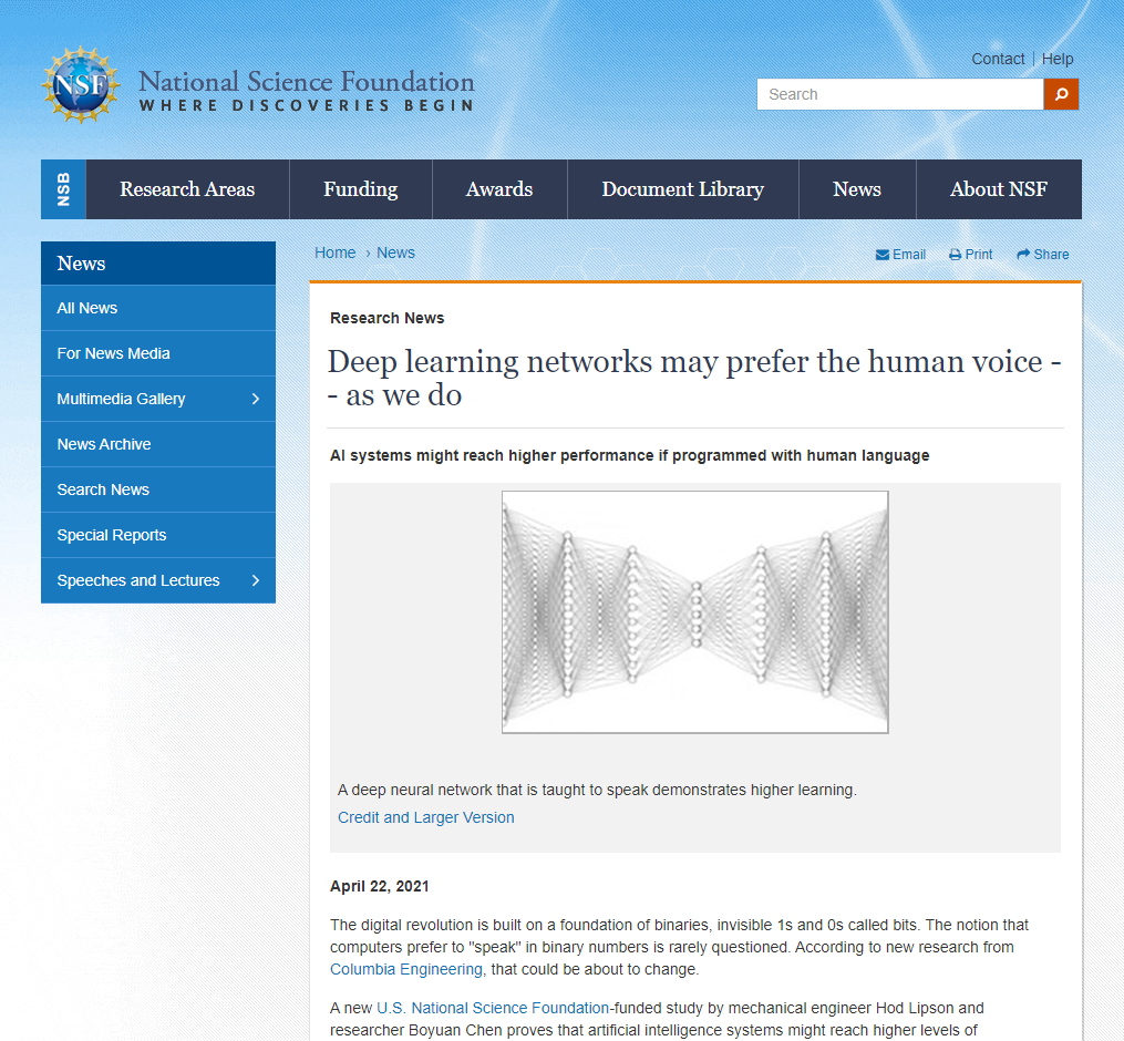 Deep learning networks may prefer the human voice