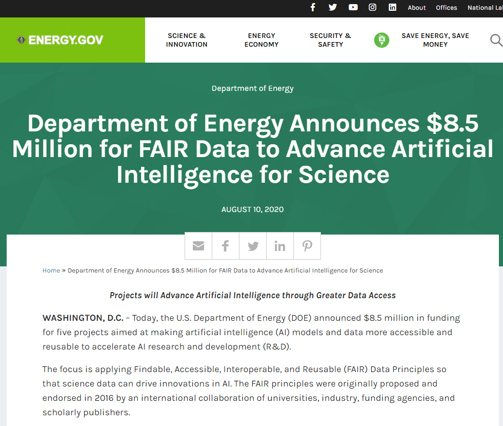 FAIR Data to Advance Artificial Intelligence for Science
