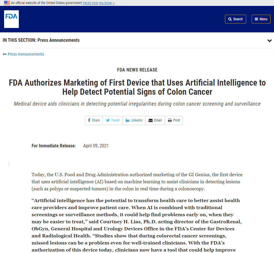 FDA Authorizes Marketing of First Device that Uses Artificial Intelligence to Help Detect Potential Signs of Colon Cancer