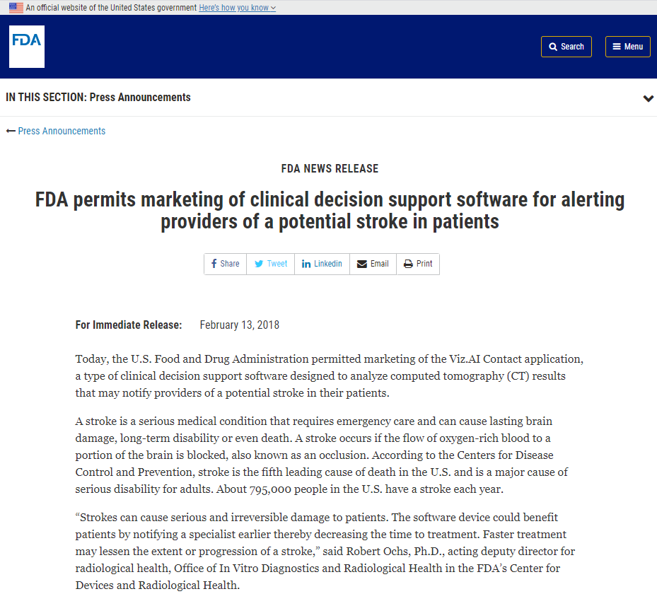 FDA permits marketing of clinical decision support software for alerting providers of a potential stroke in patients