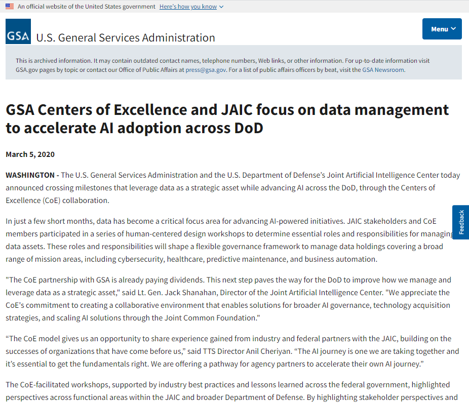 GSA Centers of Excellence and JAIC focus on data management to accelerate AI adoption across DoD
