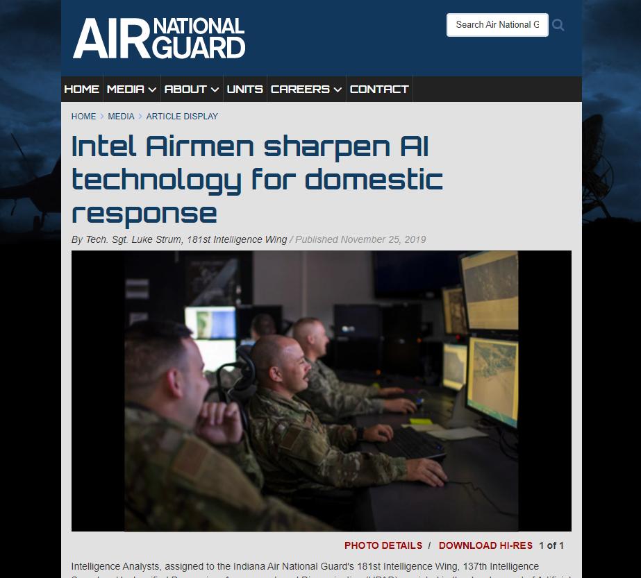 Intel Airmen sharpen AI technology for domestic response