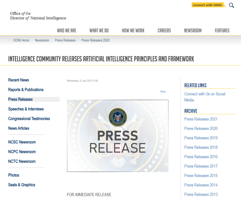 Intelligence Community Releases Artificial Intelligence Principles and Framework
