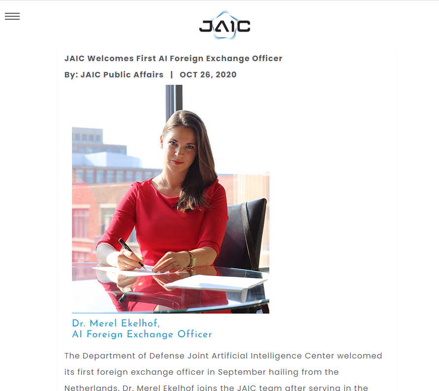 JAIC Welcomes First AI Foreign Exchange Officer