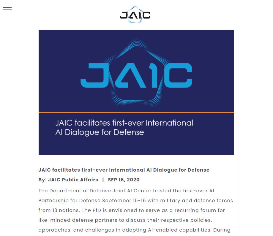 JAIC facilitates first-ever International AI Dialogue for Defense