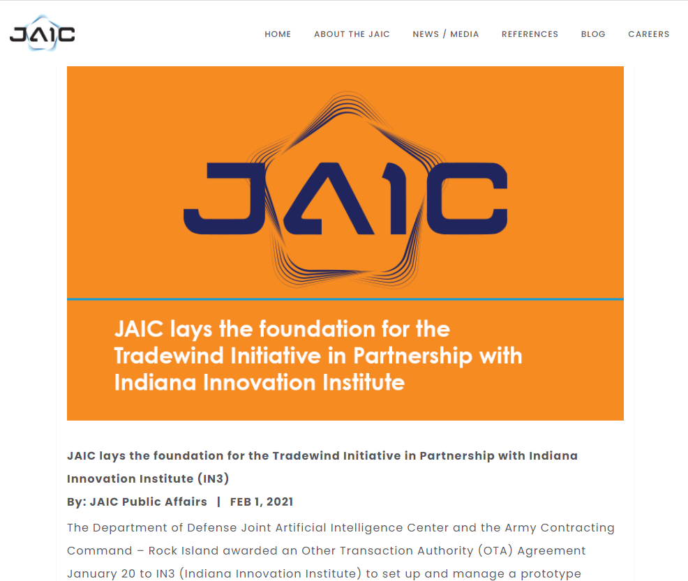 JAIC lays the foundation for the Tradewind Initiative in Partnership with Indiana Innovation Institute (IN3)