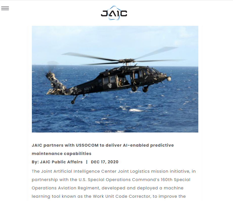 JAIC partners with USSOCOM to deliver AI-enabled predictive maintenance capabilities