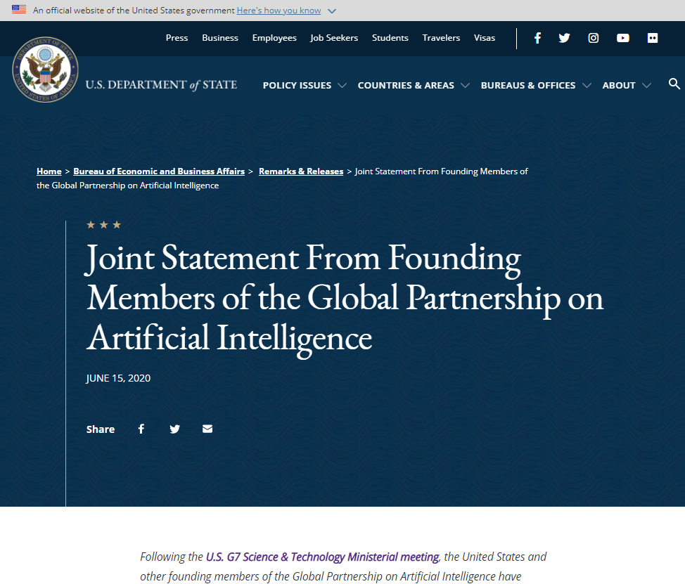 Joint Statement From Founding Members of the Global Partnership on Artificial Intelligence