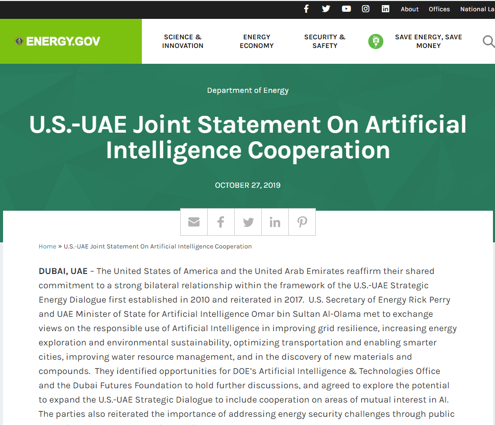 Joint Statement On Artificial Intelligence Cooperation