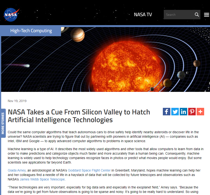 NASA Takes a Cue From Silicon Valley to Hatch Artificial Intelligence Technologies