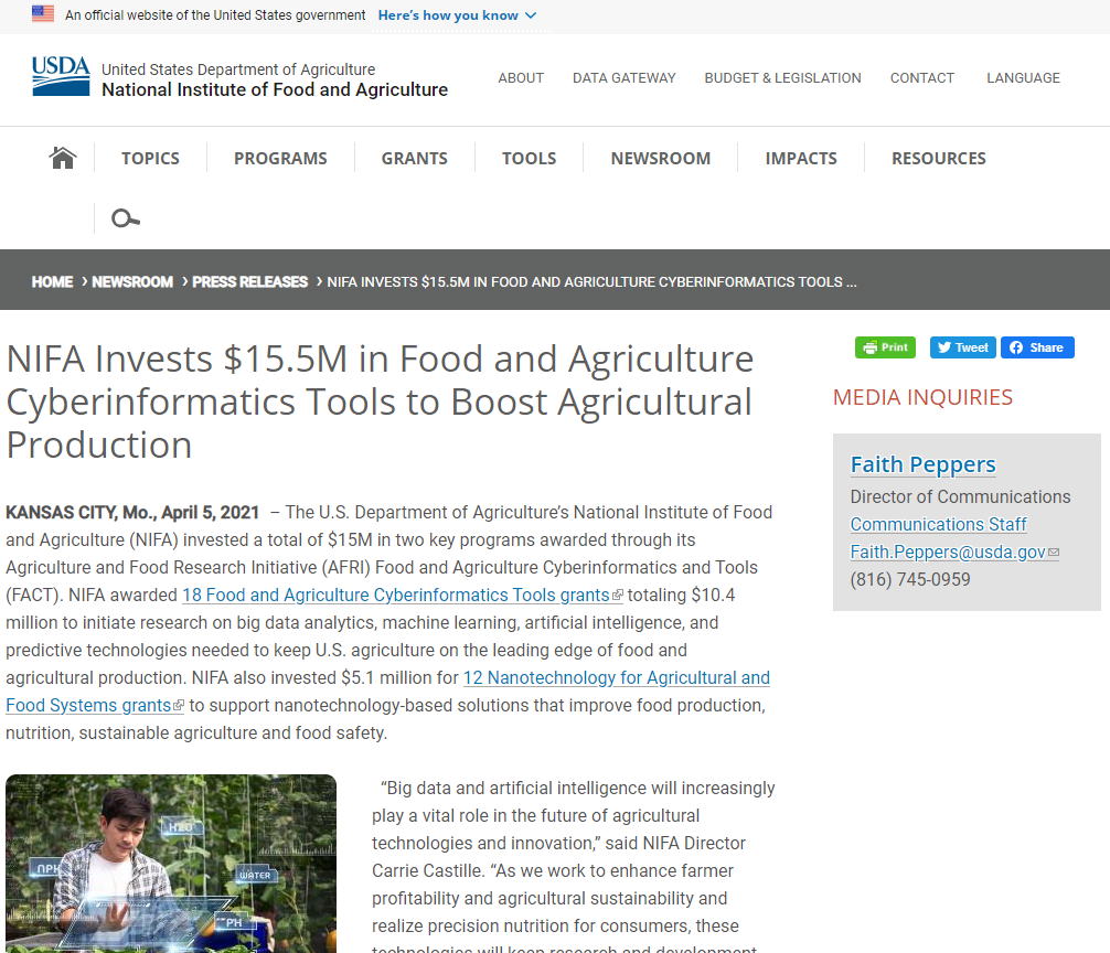 NIFA Invests $15.5M in Food and Agriculture Cyberinformatics Tools to Boost Agricultural Production
