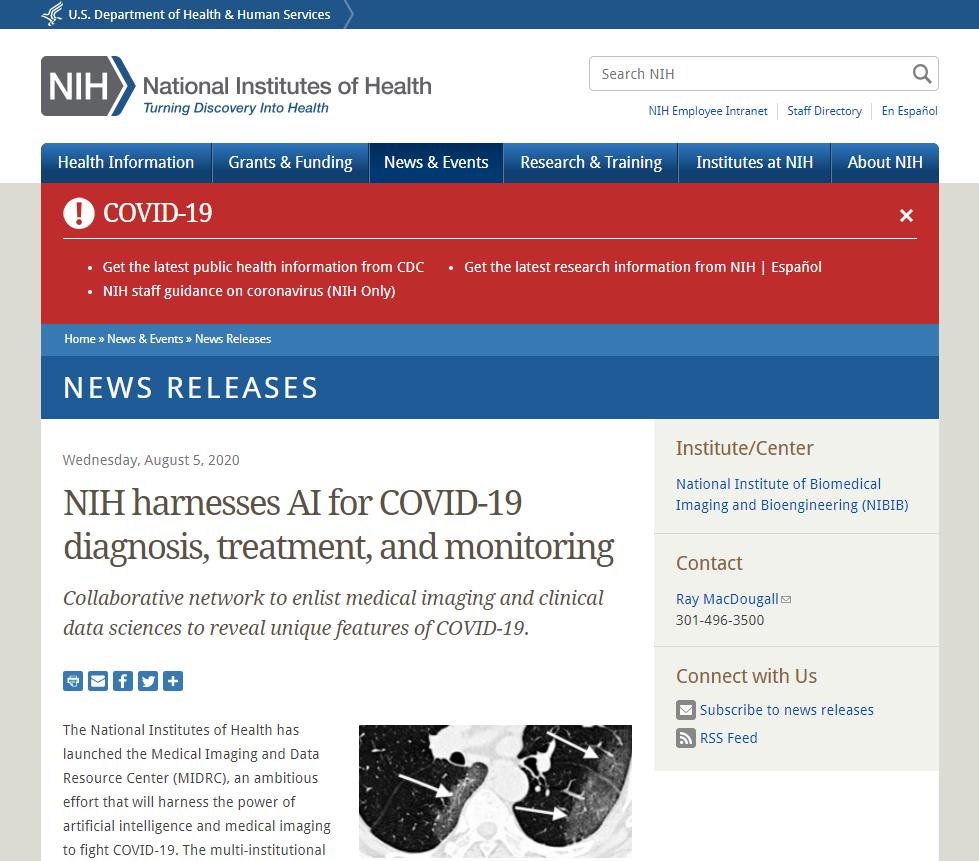NIH harnesses AI for COVID-19 diagnosis, treatment, and monitoring