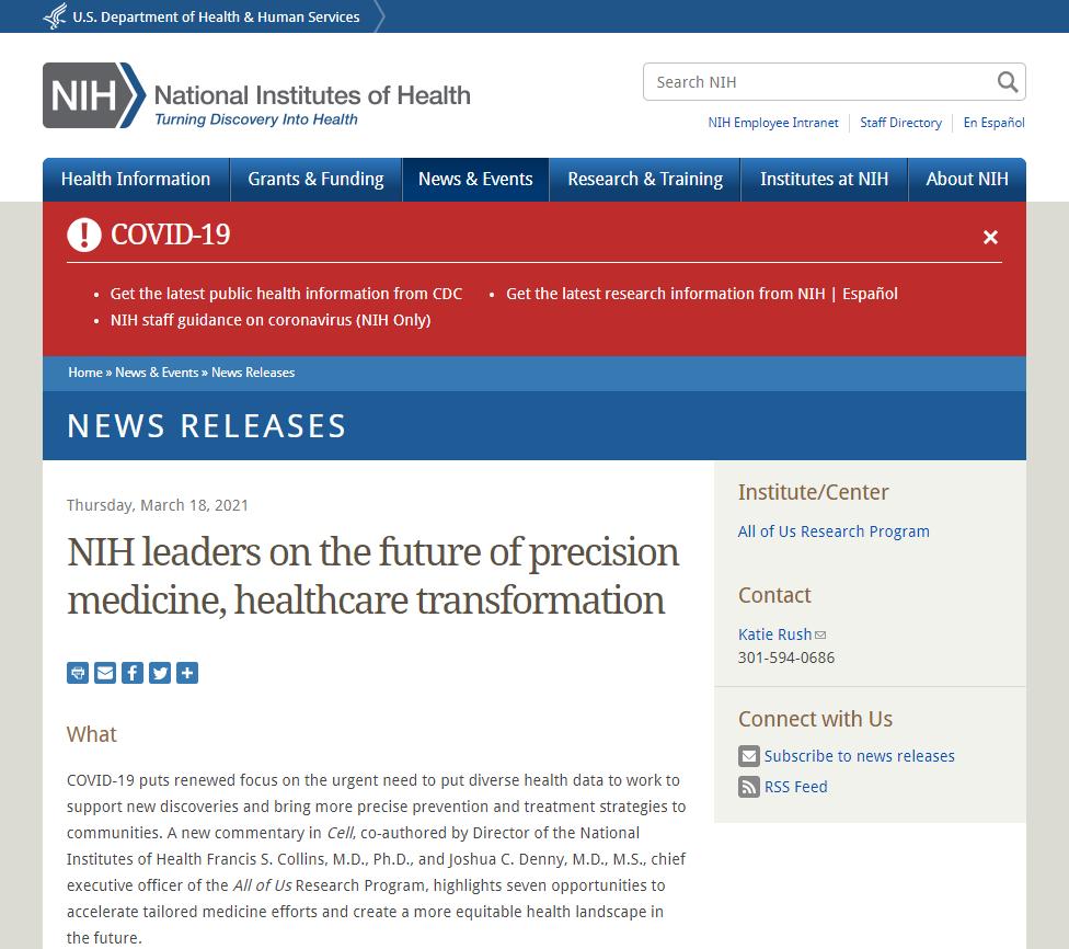 NIH leaders on the future of precision medicine, healthcare transformation