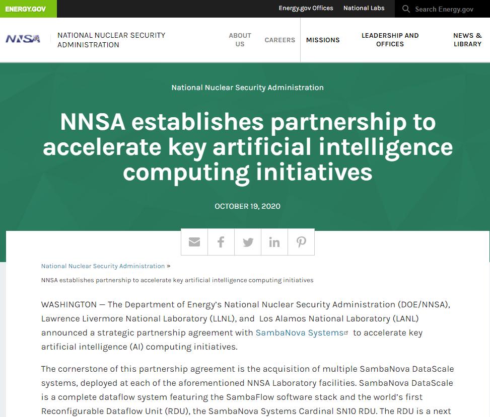 NNSA establishes partnership to accelerate key artificial intelligence computing initiatives