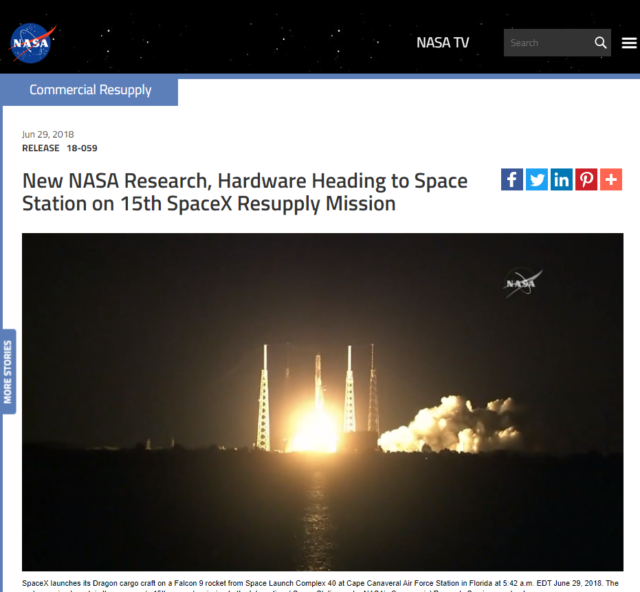 New NASA Research, Hardware Heading to Space Station on 15th SpaceX Resupply Mission