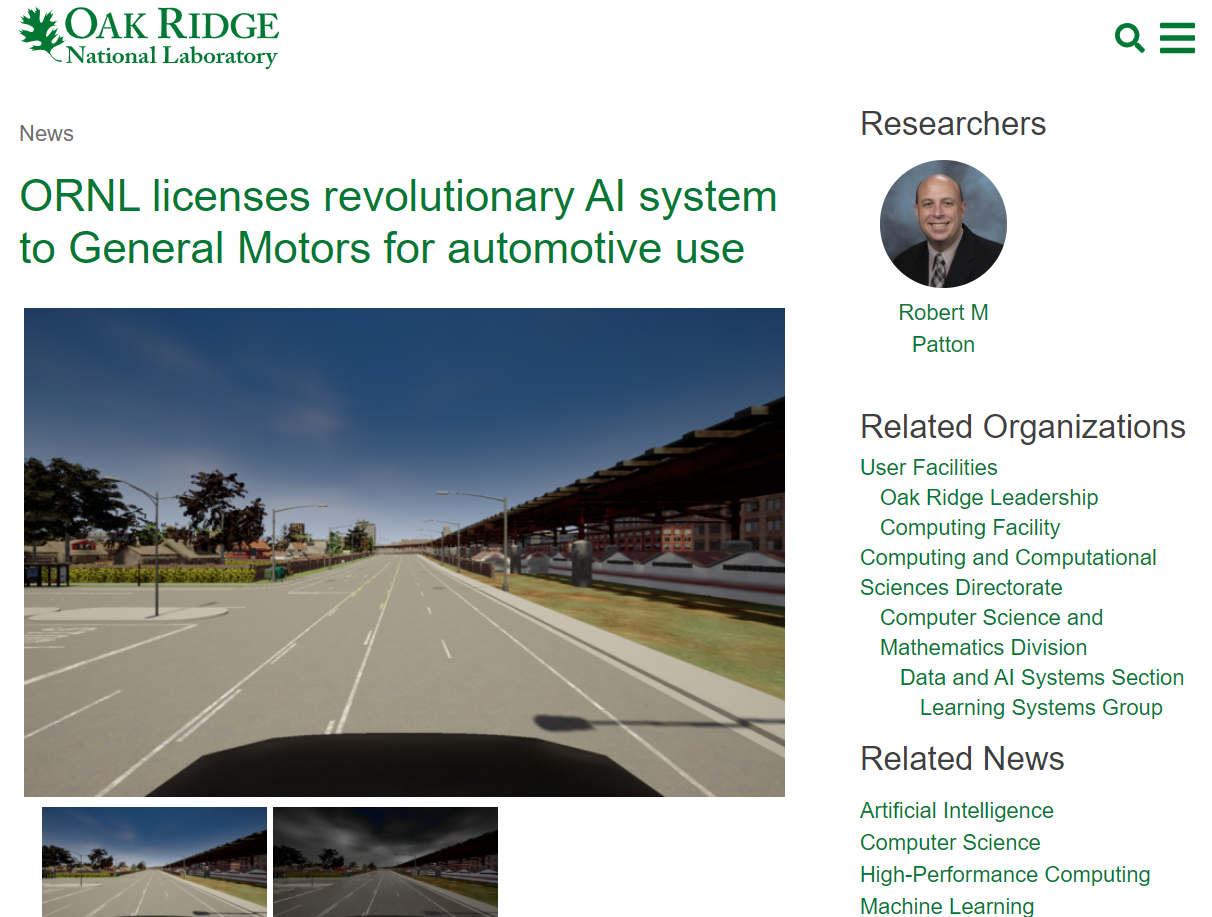 ORNL licenses revolutionary AI system to General Motors for automotive use