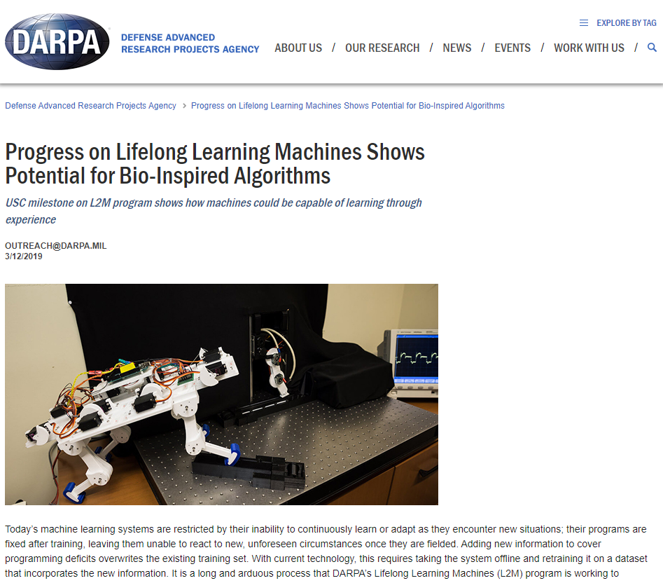 Progress on Lifelong Learning Machines Shows Potential for Bio-Inspired Algorithms
