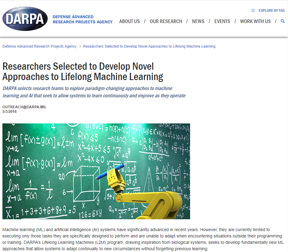 Researchers Selected to Develop Novel Approaches to Lifelong Machine Learning