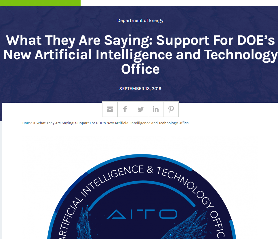 Support For DOE's New Artificial Intelligence and Technology Office