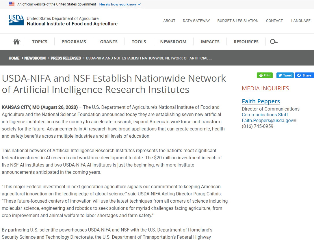 USDA-NIFA and NSF Establish Nationwide Network of Artificial Intelligence Research Institutes