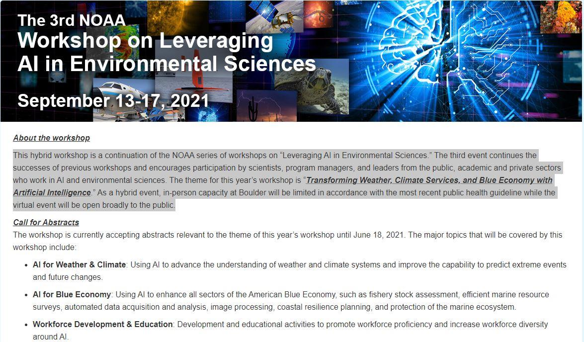 3rd NOAA Workshop on Leveraging AI in Environmental Sciences