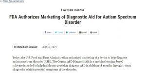 FDA Authorizes Marketing of Diagnostic Aid for Autism Spectrum Disorder