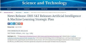 DHS S&T Releases Artificial Intelligence & Machine Learning Strategic Plan