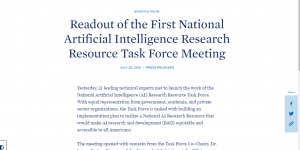 Readout of the First National Artificial Intelligence Research Resource Task Force Meeting