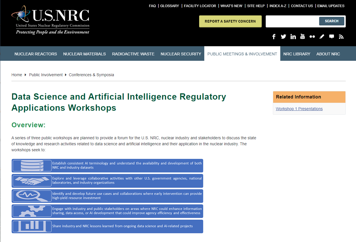 Data Science and Artificial Intelligence Regulatory Applications Workshops