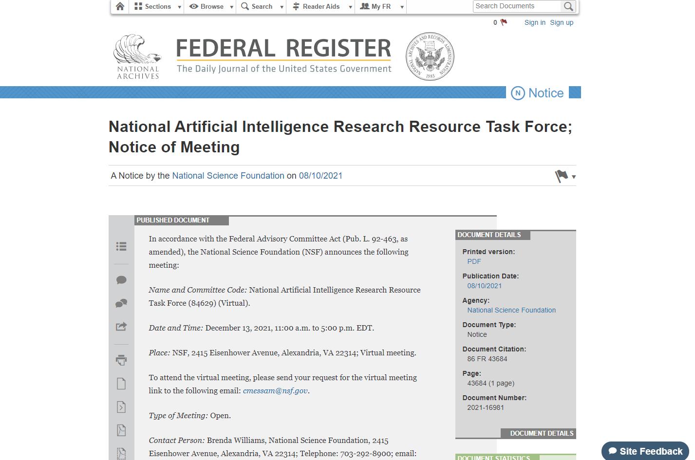 Federal Register Notice 86 FR 43684 - 2