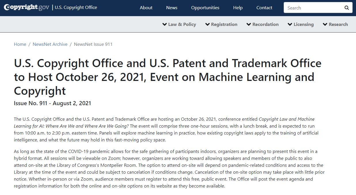U.S. Copyright Office and U.S. Patent and Trademark Office to Host October 26, 2021, Event on Machine Learning and Copyright