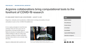 Argonne collaborations bring computational tools to the forefront of COVID-19 research