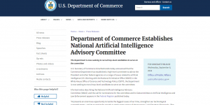 Department of Commerce Establishes National Artificial Intelligence Advisory Committee