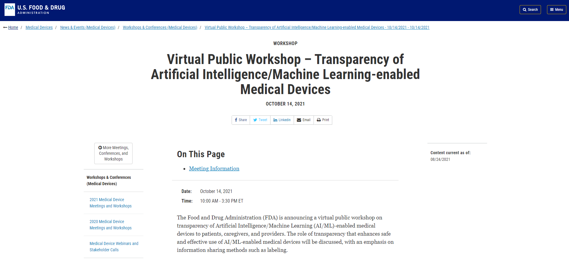 FDA Virtual Public Workshop on Transparency of Artificial Intelligence/Machine Learning-enabled Medical Devices