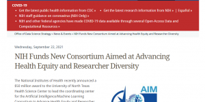 NIH Funds New Consortium Aimed at Advancing Health Equity and Researcher Diversity