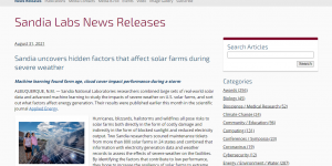 Sandia uncovers hidden factors that affect solar farms during severe weather