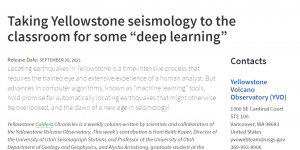 """Taking Yellowstone seismology to the classroom for some """"deep learning"""""""